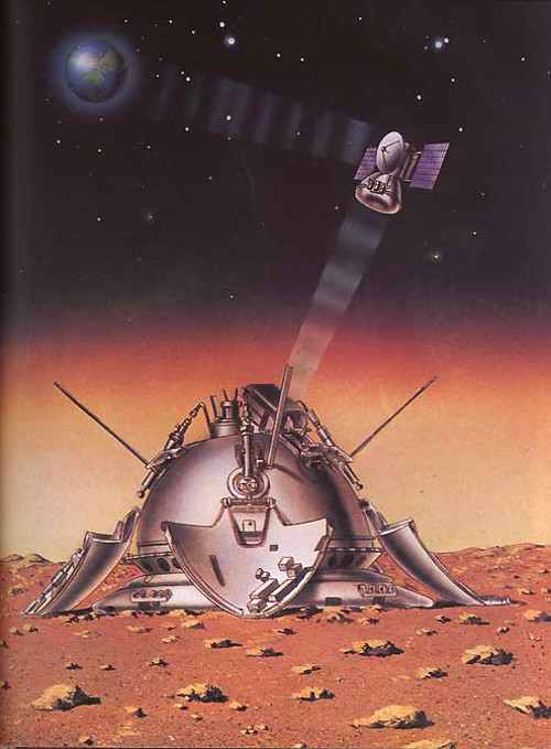Wizualizacja lądownika na powierzchni Marsa połączonego kablem sterowania z łazikiem PrOP-M, które to komunikują się radiowo z orbiterem krążącym wokół Marsa