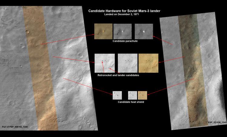 Prawdopodobne umieszczenie pozostałości osłony, spadochronu, rakiet hamujących i lądownika Marsa 3 na powierzchni Marsa