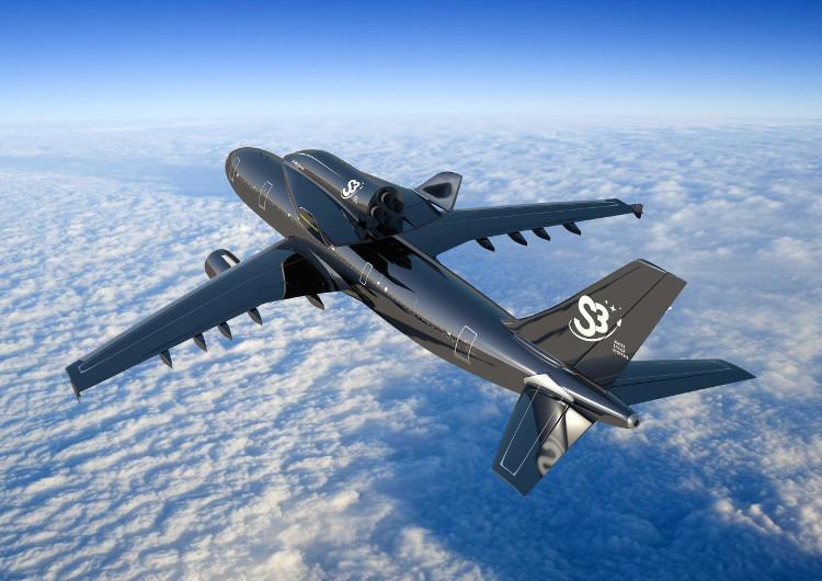 Wizualizacja wahadłowca SOAR na grzbiecie samolotu pasażerskiego
